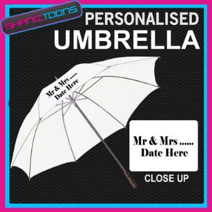 "PERSONALISED UMBRELLA ADD TEXT LOGO WEDDING BRIDE WHITE 30"" LONG HANDLE"